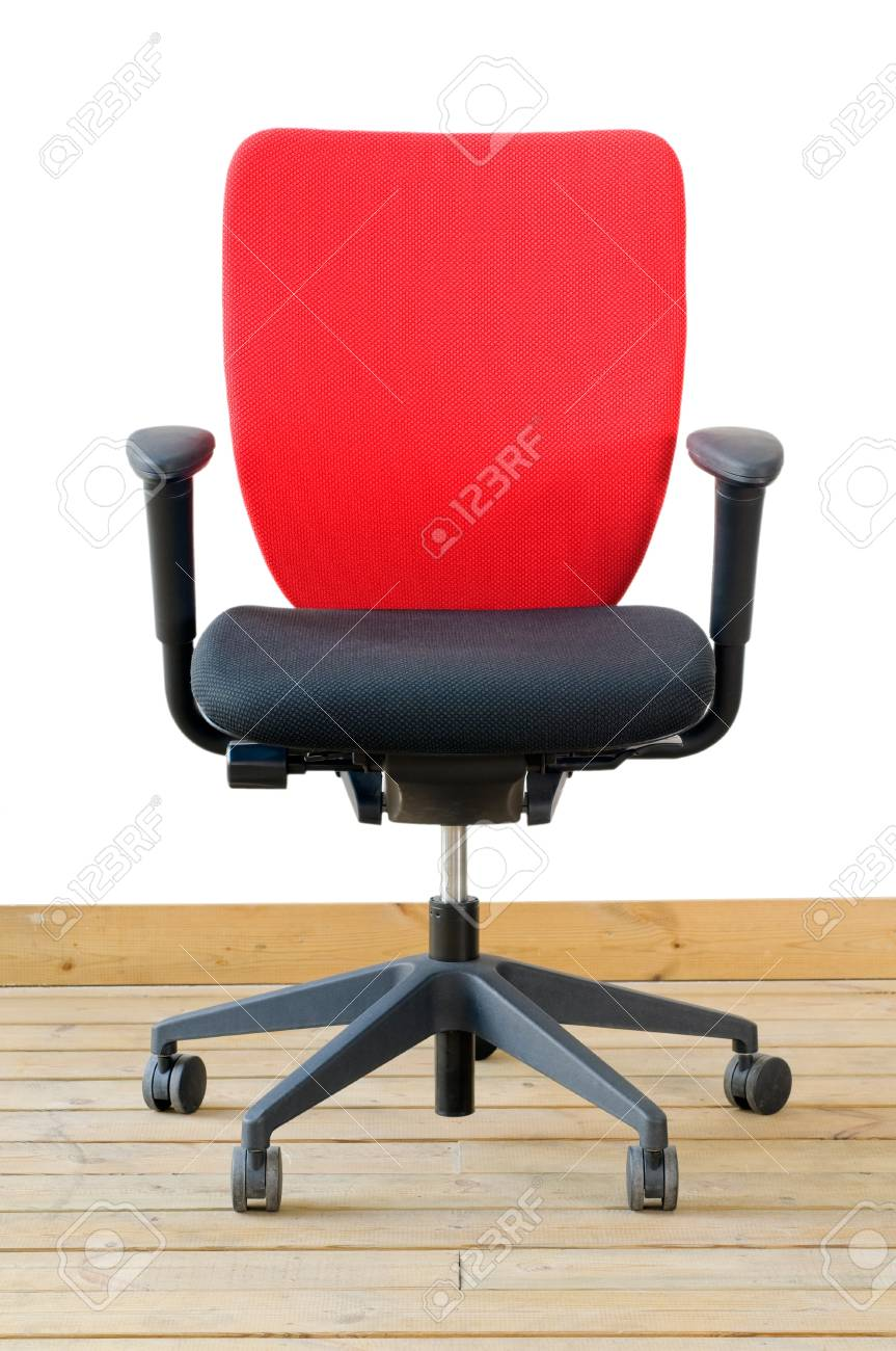 modern red office chair on wood floor over white background Stock Photo - 9981036