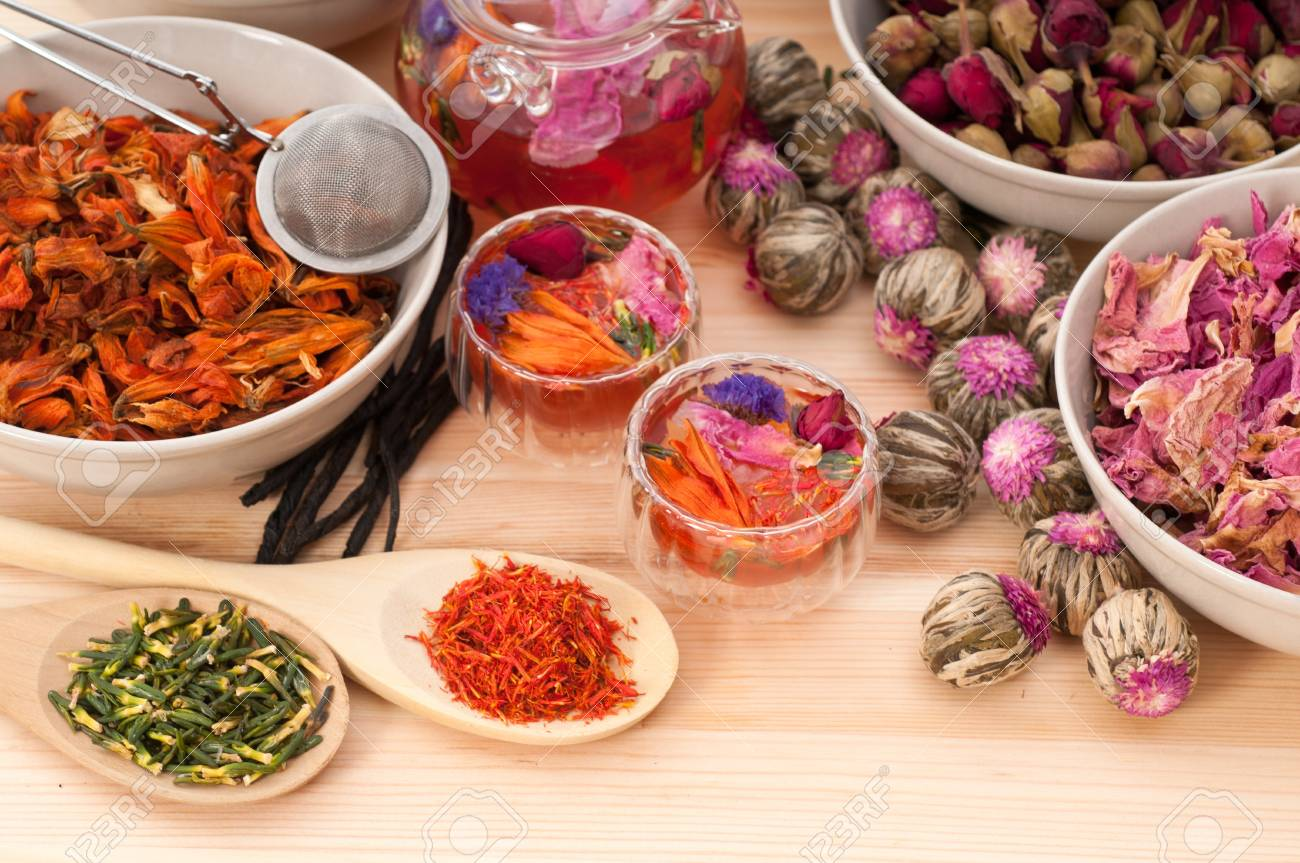 Herbal natural floral tea infusion with dry flowers ingredients Stock Photo - 15279521