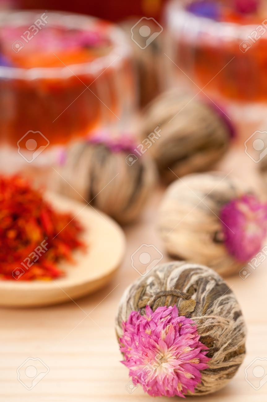 Herbal natural floral tea infusion with dry flowers ingredients Stock Photo - 15279524