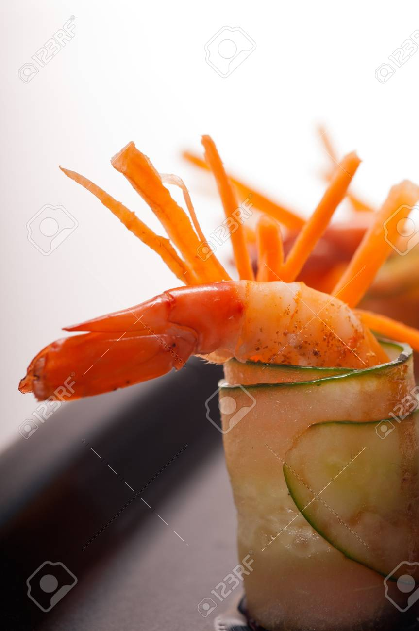 colorful  fresh prawn shrimps and vegetables appetizer snack antipasto Stock Photo - 15377913