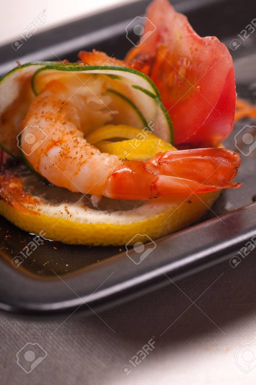 colorful  fresh prawn shrimps and vegetables appetizer snack antipasto Stock Photo - 16216806