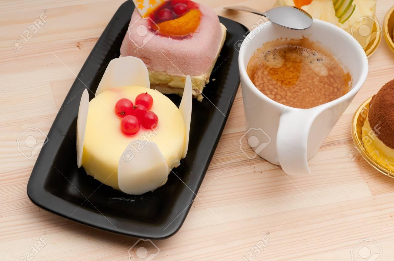 espresso coffee and  fruit cream cake pastry closeup Stock Photo - 16216838