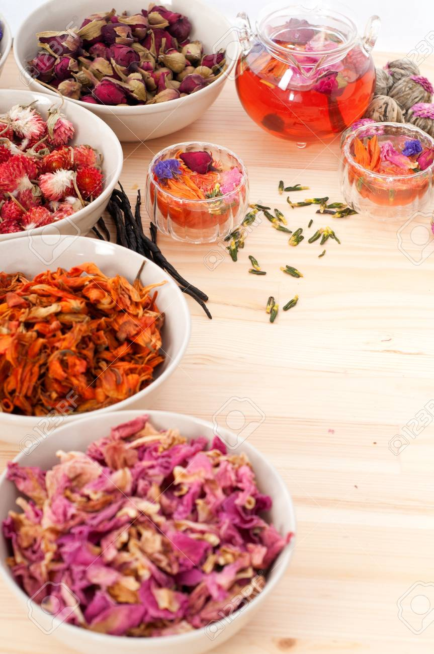 Herbal natural floral tea infusion with dry flowers ingredients Stock Photo - 16216841