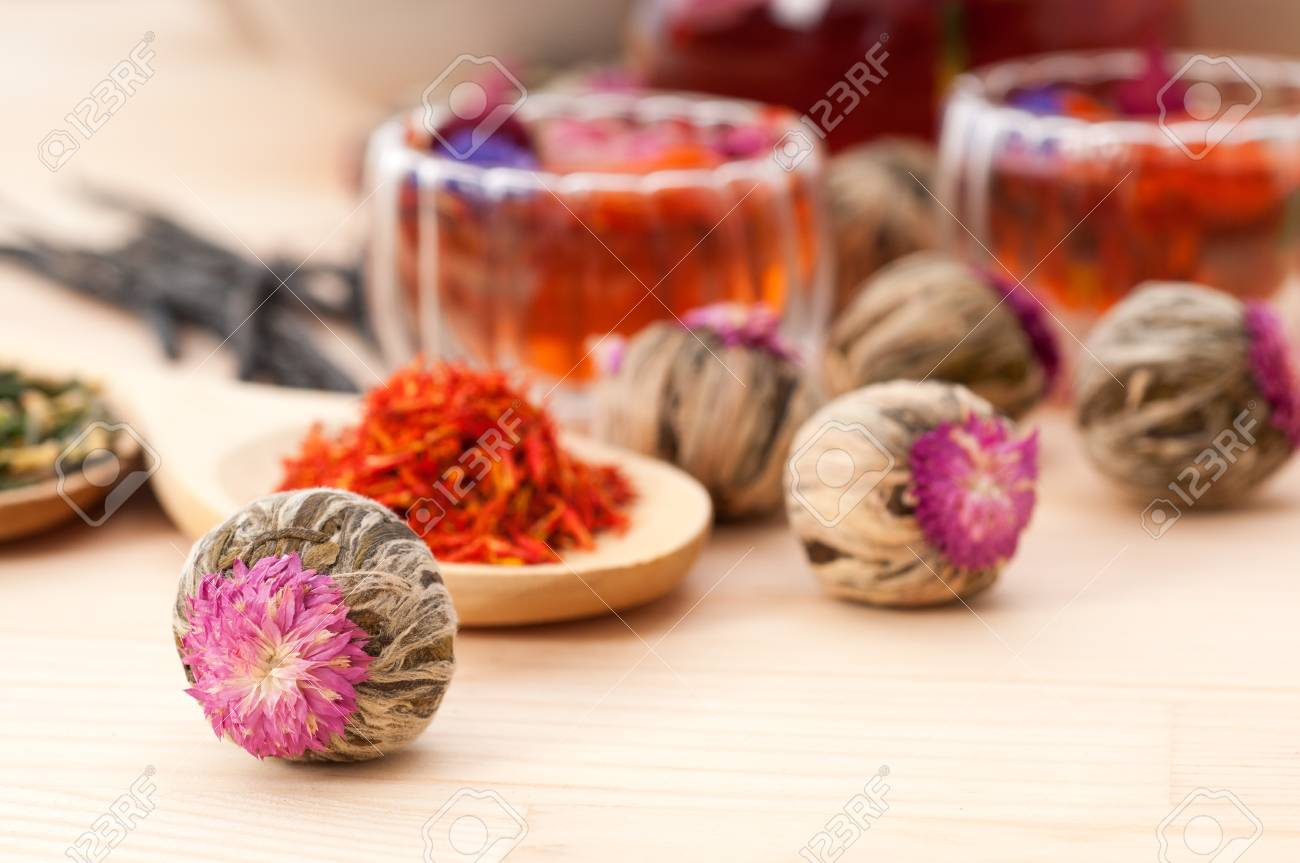 Herbal natural floral tea infusion with dry flowers ingredients Stock Photo - 16216837