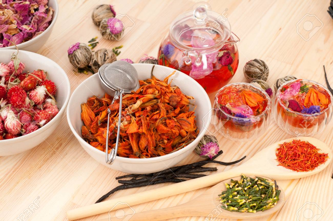 Herbal natural floral tea infusion with dry flowers ingredients Stock Photo - 16216844