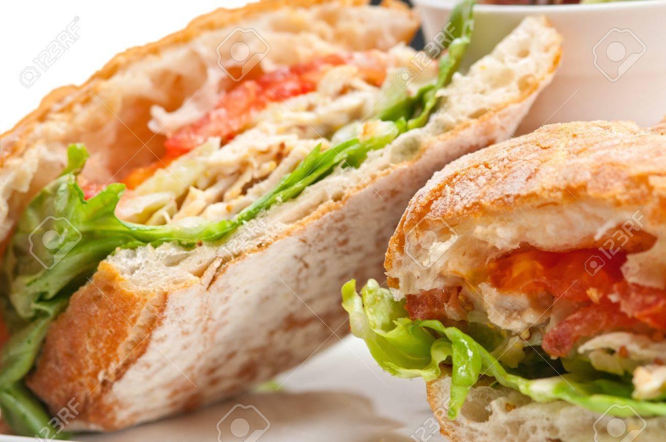 italian ciabatta panini sandwich with chicken and tomato Stock Photo - 17349864