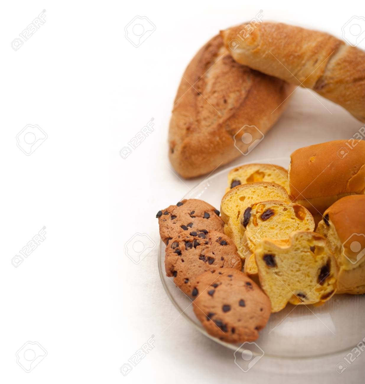 selection of sweet bread and cookies for breakfast Stock Photo - 17846710