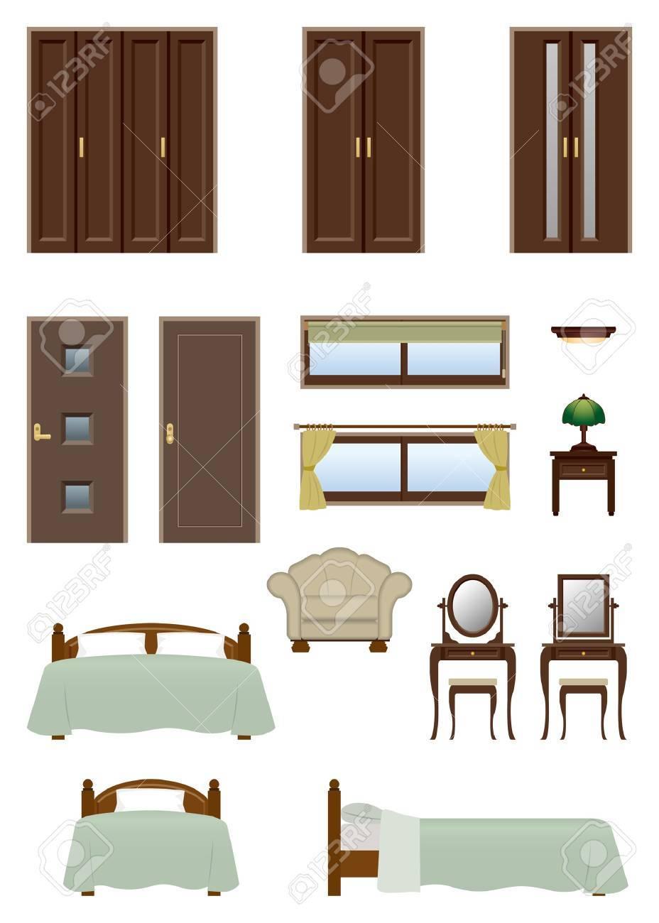 Bedroom furniture Stock Vector - 20417305