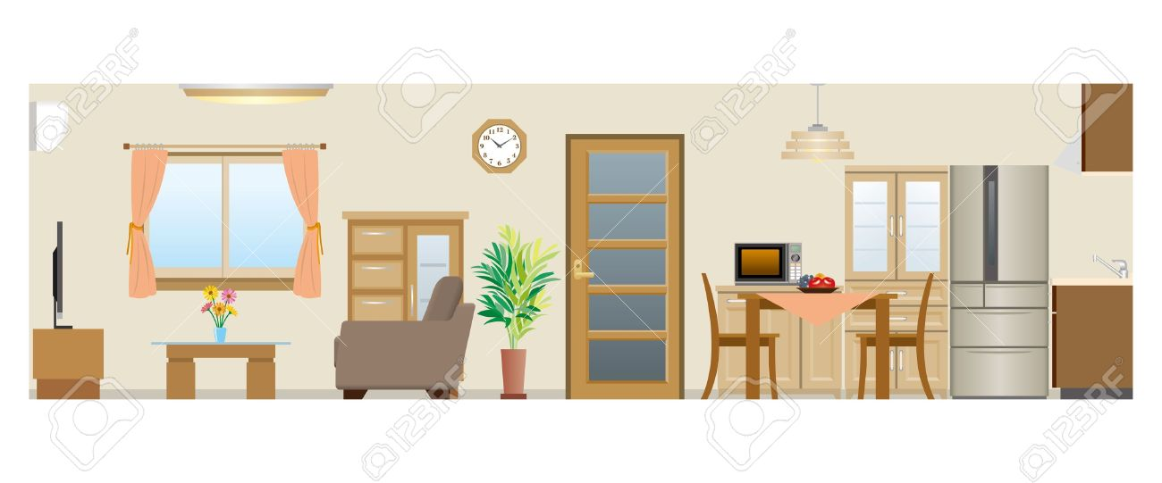 Living Room Dining Kitchen Stock Vector