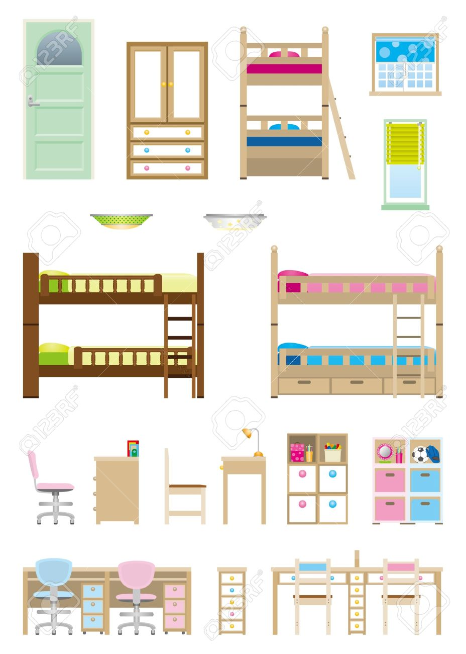 Children   Room   Furniture Stock Vector - 21743386