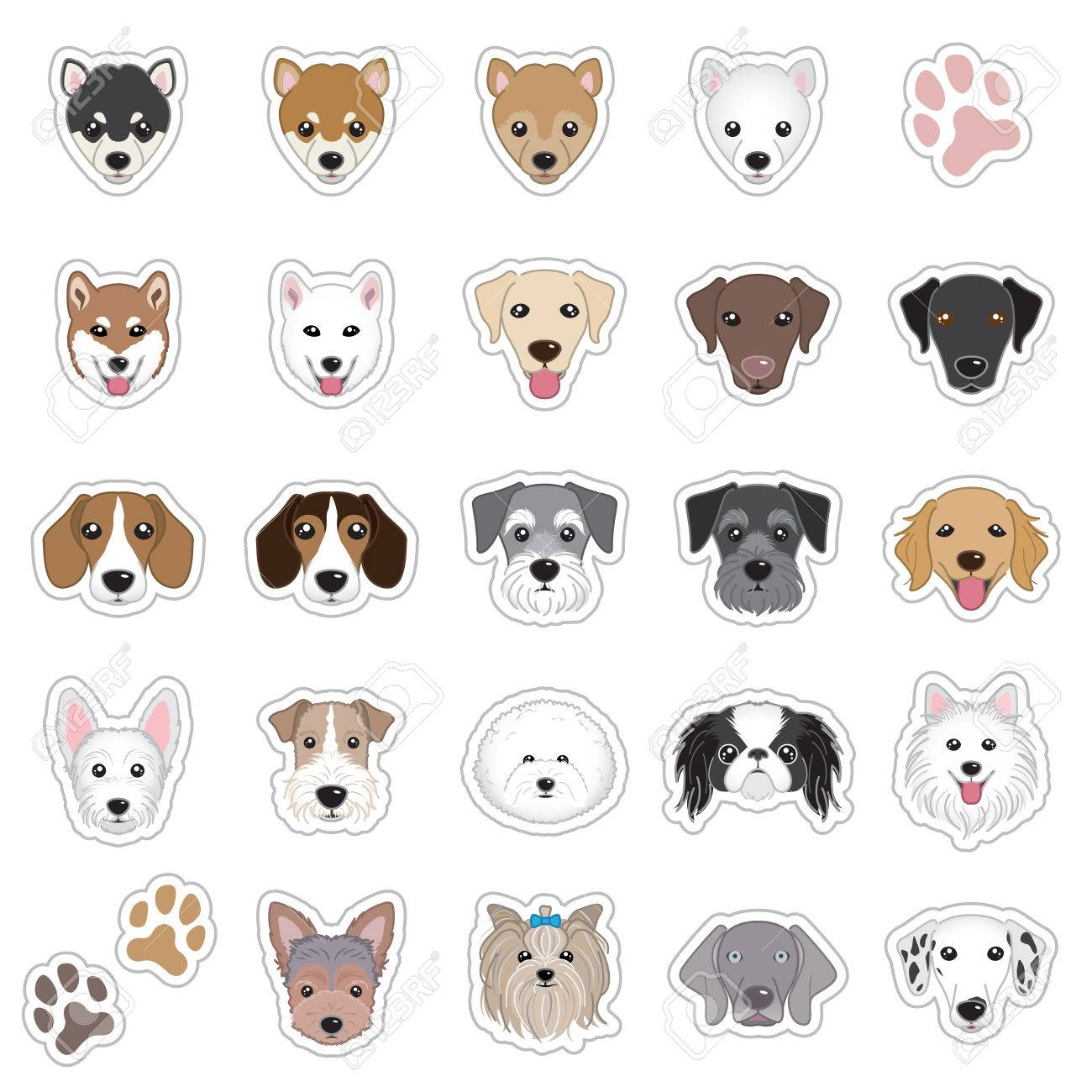 Illustrations of dog face - 34037833