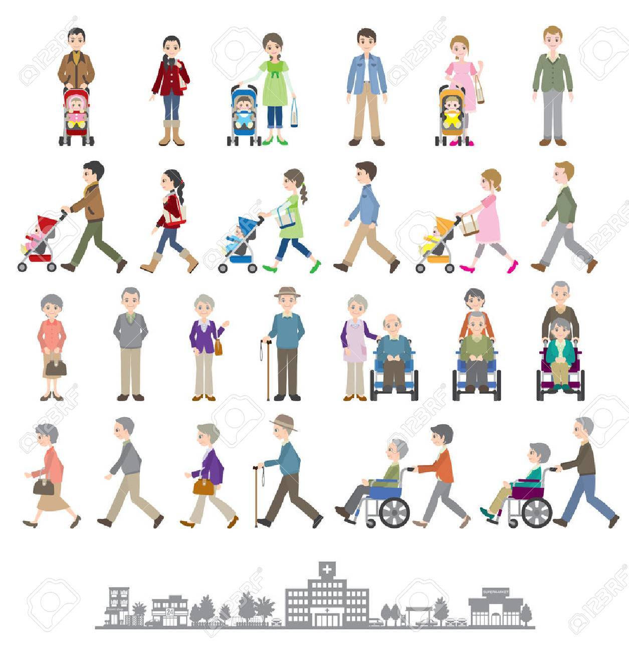 Illustrations of various people / Family - 35834531