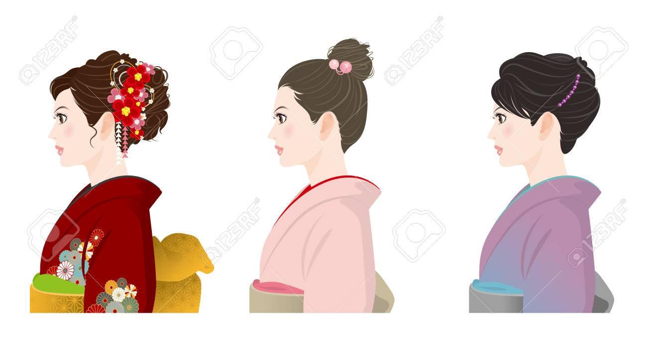 着物の髪型のイラスト素材ベクタ Image 49932043