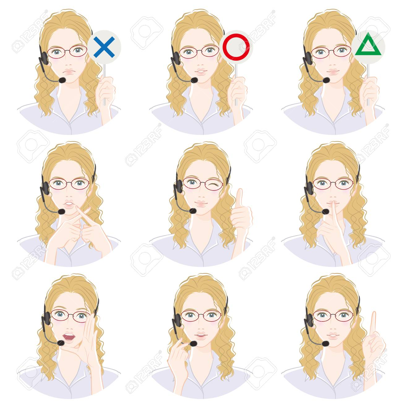 Various facial expressions of English teachers - 117196771