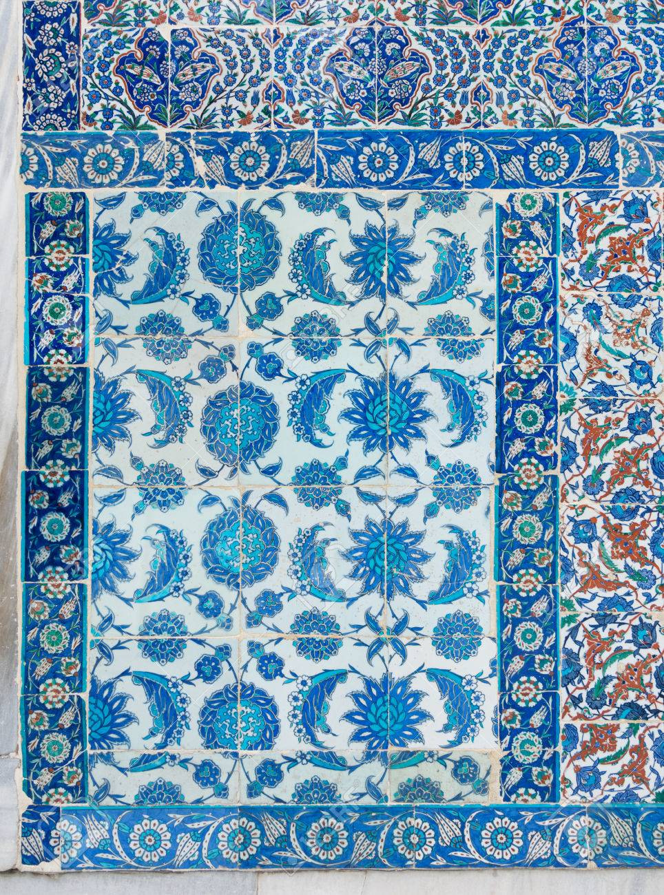 Old Ceramic Wall Tiles With Floral Blue Pattern In An Exterior ...