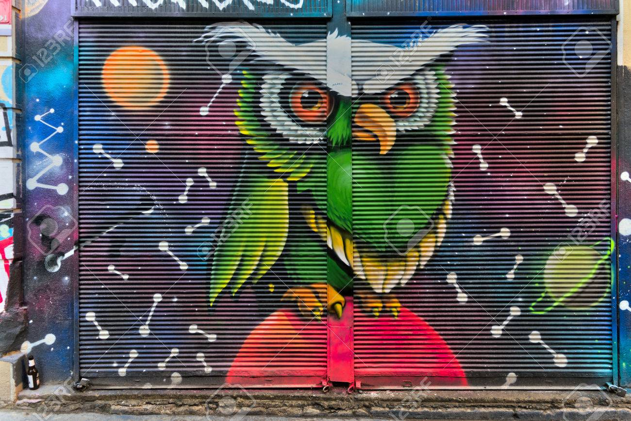 Istanbul, Turkey - April 18, 2017: Closed shop exterior with metal door covered with colorful graffiti at Hoca Tahsin Street, Karakoy district, Istanbul, Turkey - 86464765