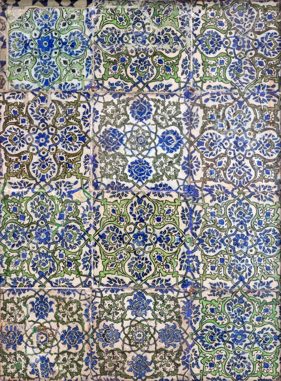 Ottoman Era Style Glazed Ceramic Tiles Decorated With Floral Stock