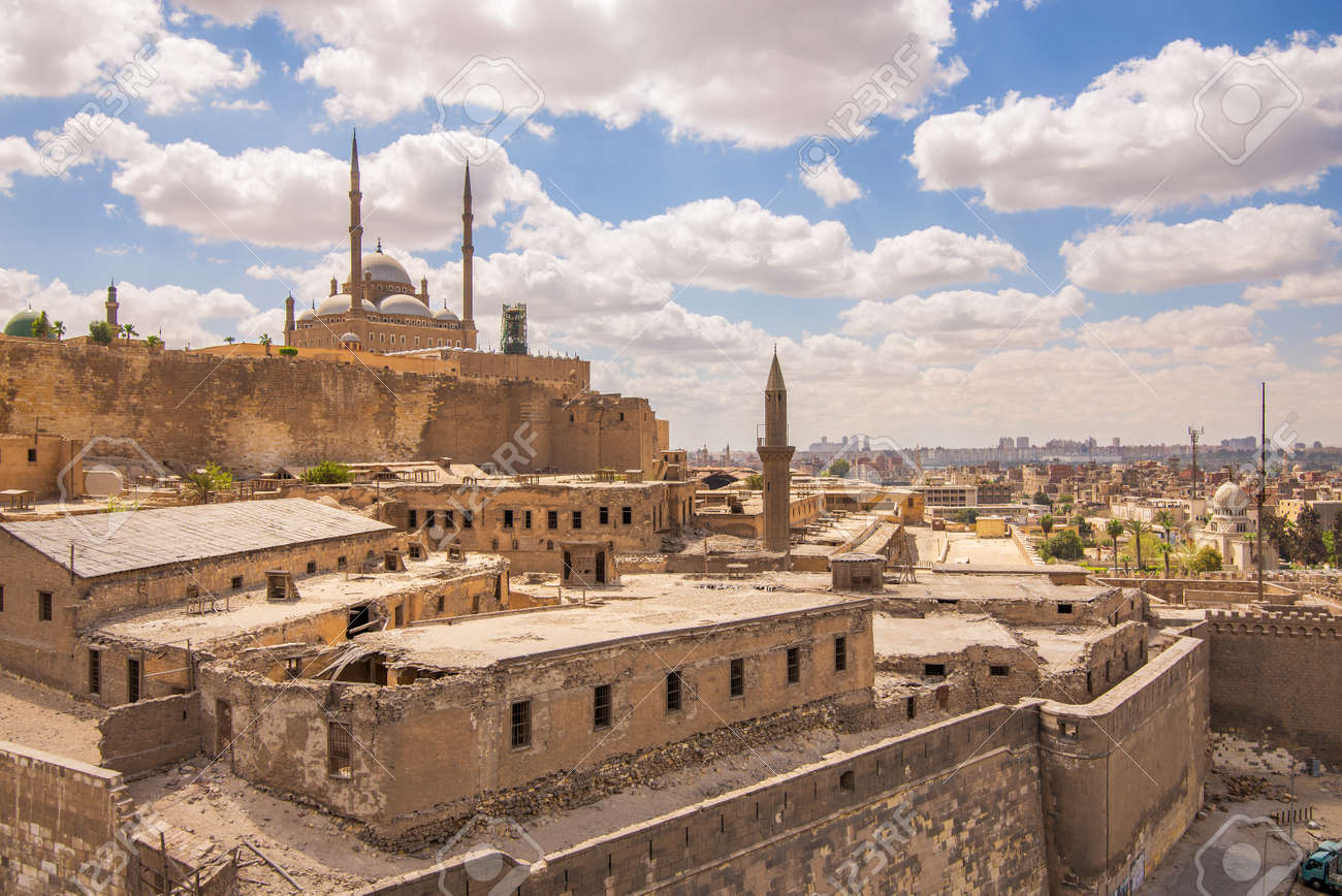 Day shot of Great Mosque of Muhammad Ali Pasha - Alabaster Mosque - located in the Citadel of Cairo in Egypt, commissioned by Muhammad Ali Pasha, one of the landmarks and tourist attractions of Cairo - 167501666