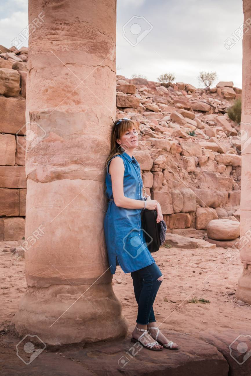 top fashion d4393 e194a Girl in old city Petra in the desert of Wadi Musa in Jordan, a UNESCO