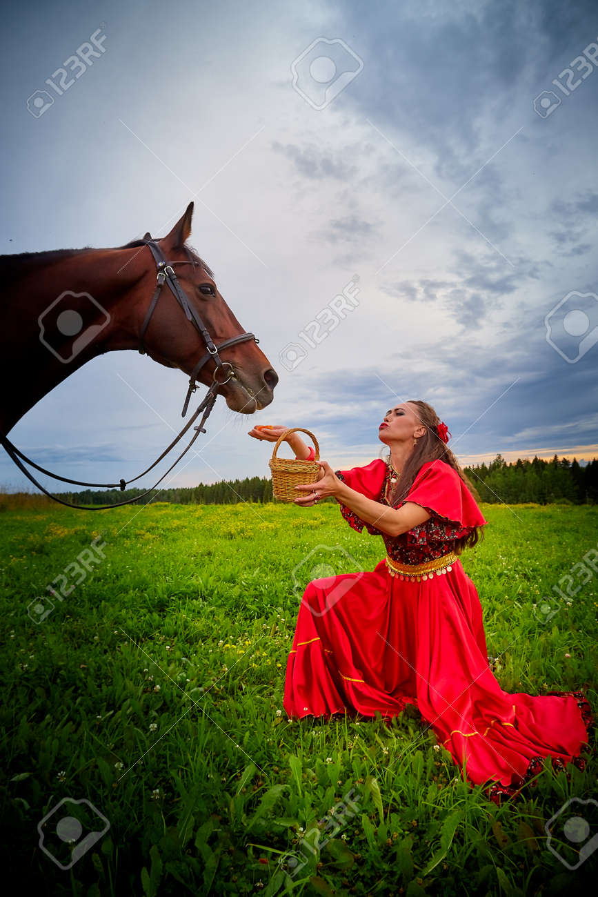Woman in a bright Gypsy dress and image with a horse in a field with green grass. A model or actress posing in nature with an animal from a farm and the sky with clouds in the background - 160835301