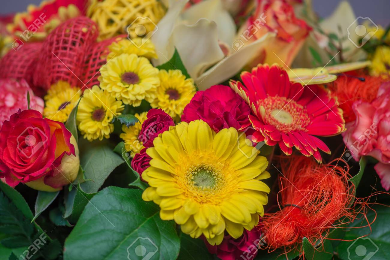 Bunch Of Colorful Flowers, Flower Bouquets Stock Photo, Picture And ...