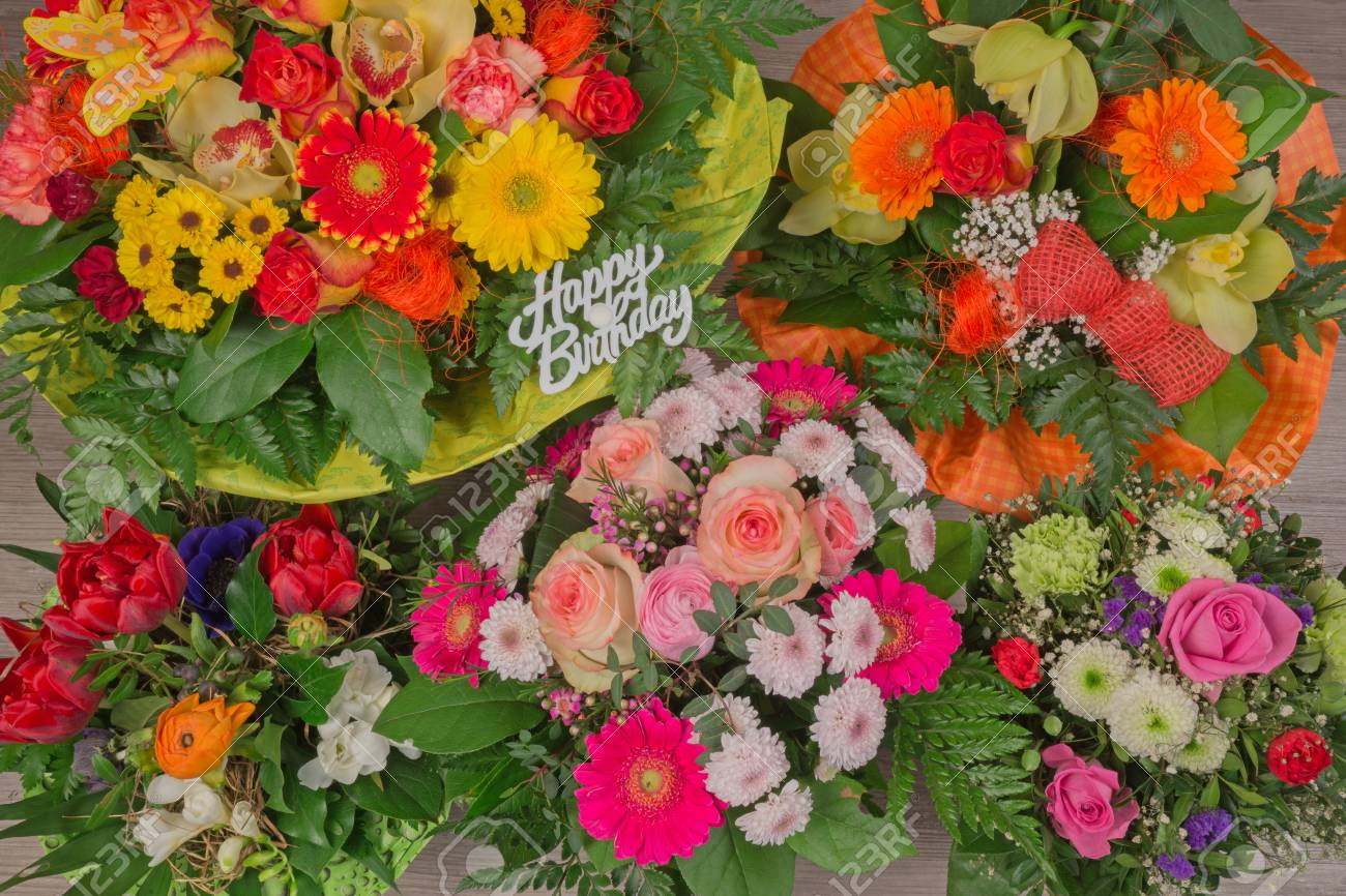 Bunch Of Colorful Flowers, Flower Bouquet With Text Happy Birthday ...