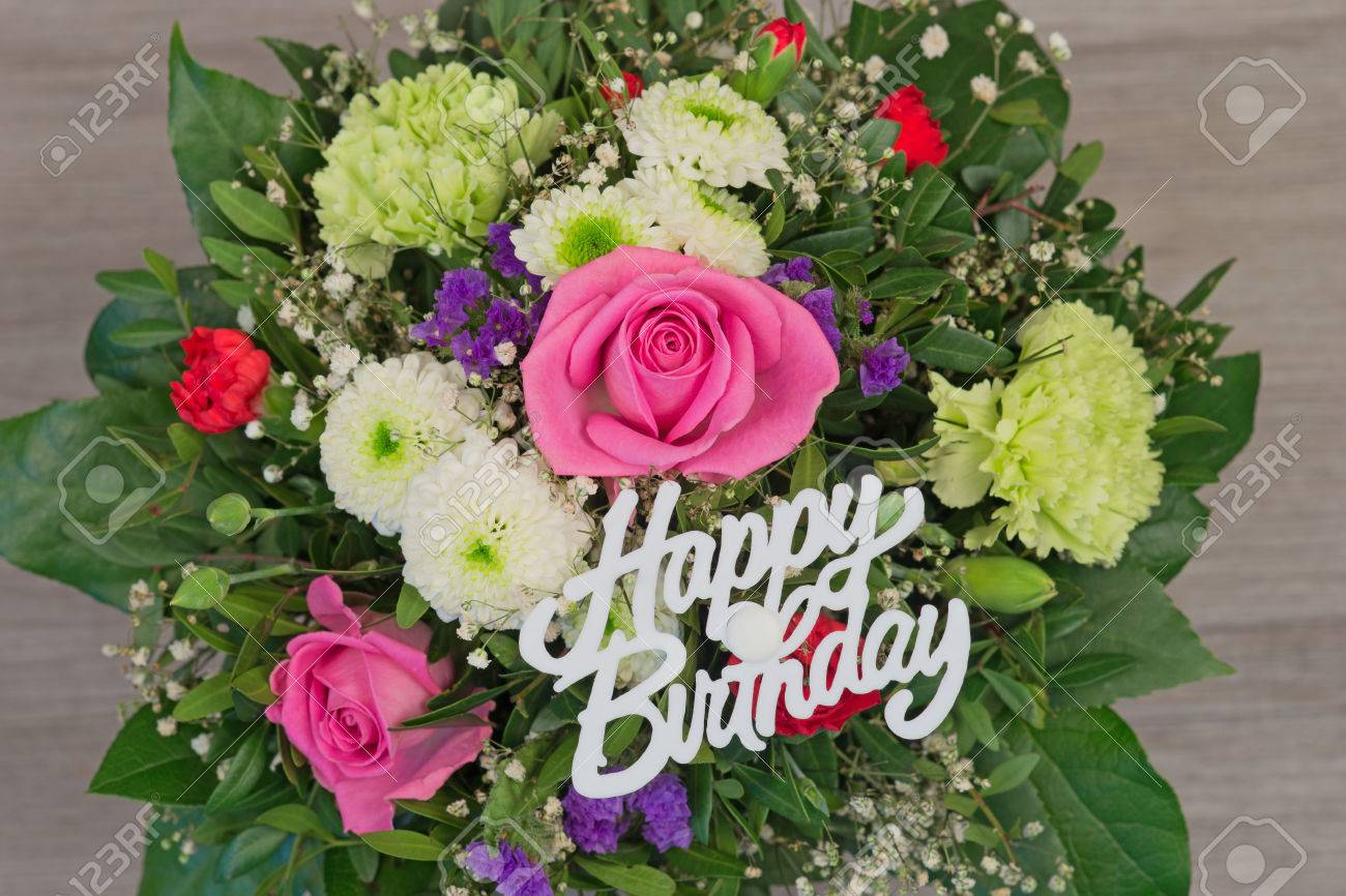 Bunch of colorful flowers flower bouquet with text happy birthday bunch of colorful flowers flower bouquet with text happy birthday stock photo 53071938 izmirmasajfo