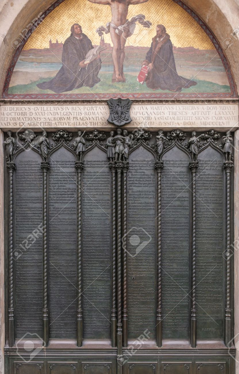 Door of the All Saints church in Wittenberg Germany with the ninety-five theses posted & Door Of The All Saints Church In Wittenberg Germany With The.. Stock ...