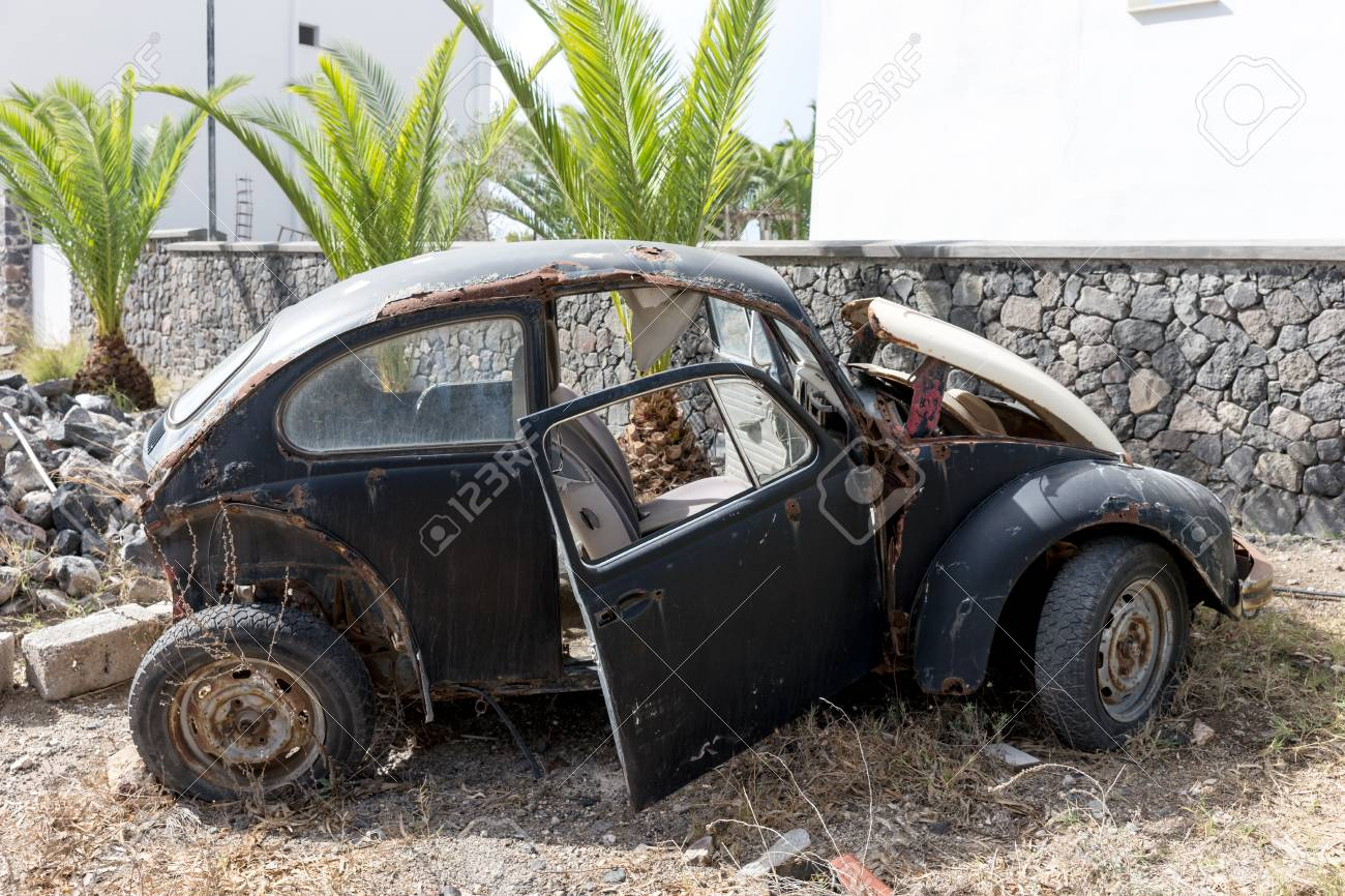 Old Rusted German Car Wreck In The Parking Stock Photo, Picture ...