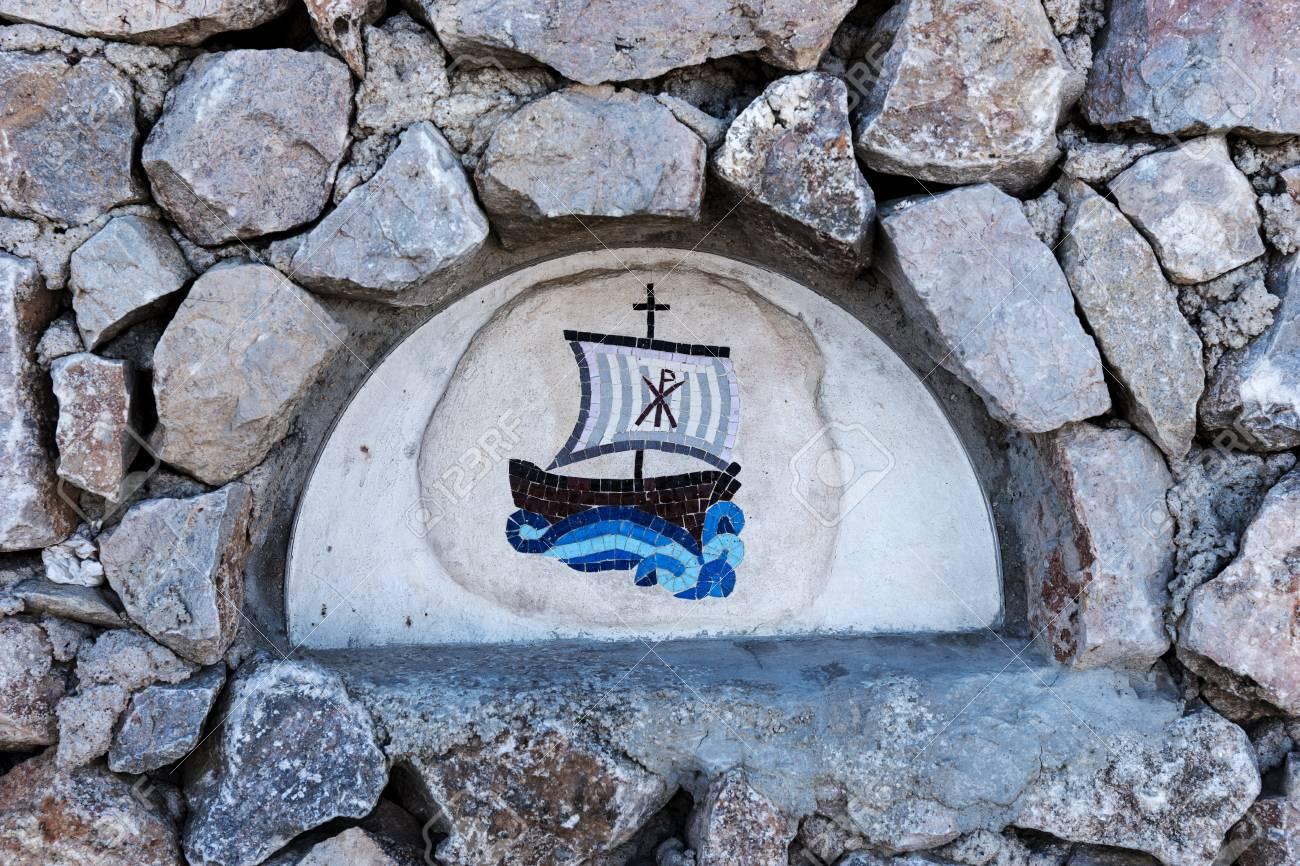 Closeup Of Blue Sailing Ship Mosaic Tiles On An Old Stone Wall Stock ...