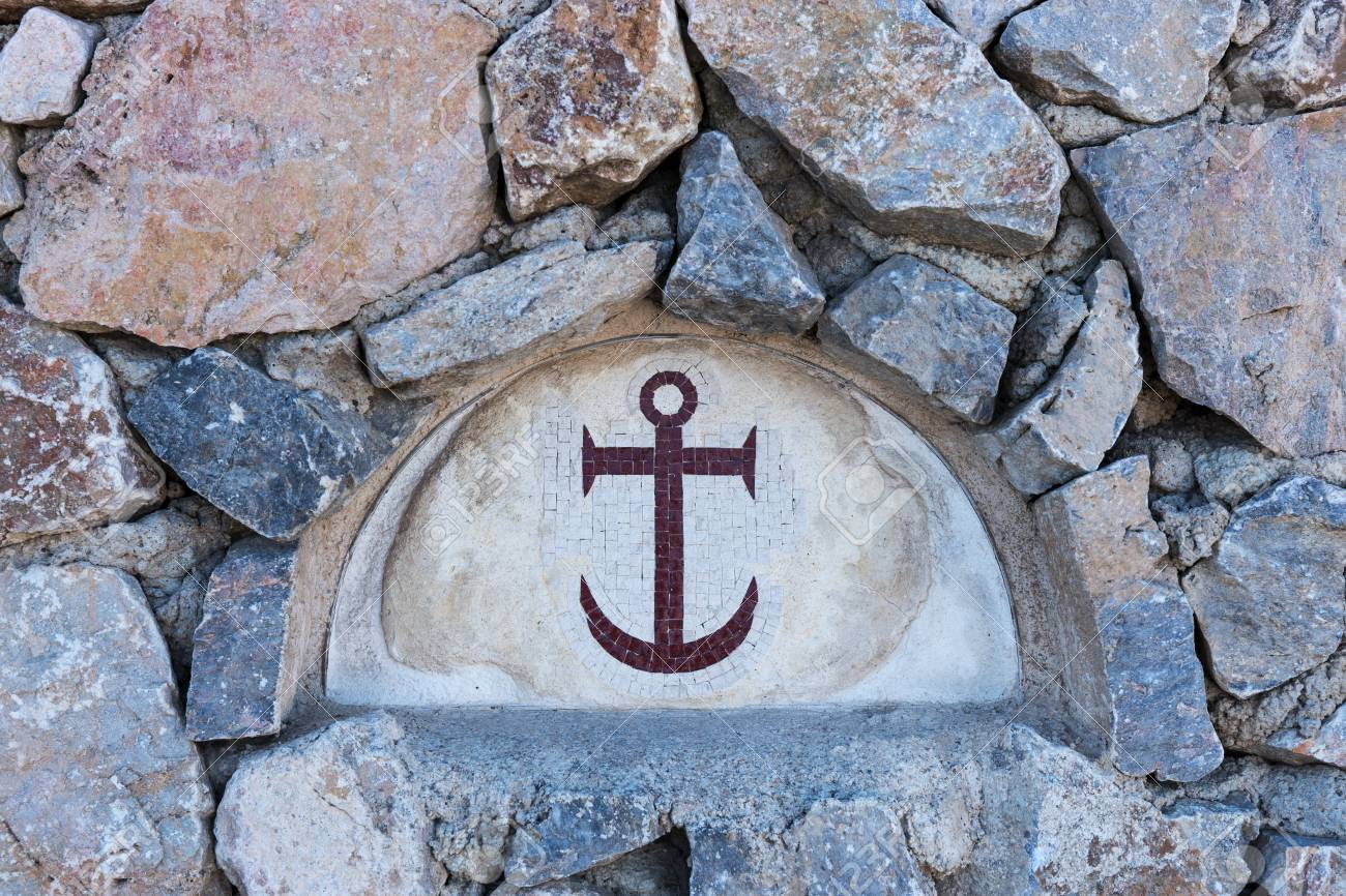 Closeup Of Anchor Mosaic Tiles On An Old Stone Wall Stock Photo ...
