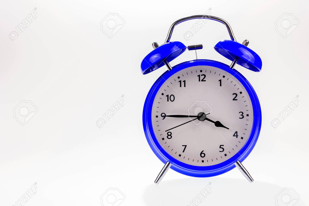 Blue retro alarm clock isolated on white, Time concept - 129479387