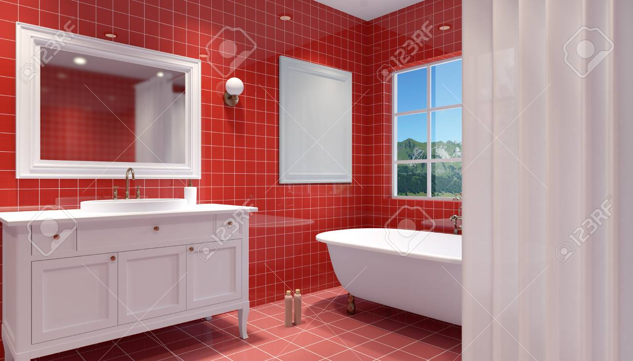 Small modern bathroom interior 3d rendering banque dimages 76835362