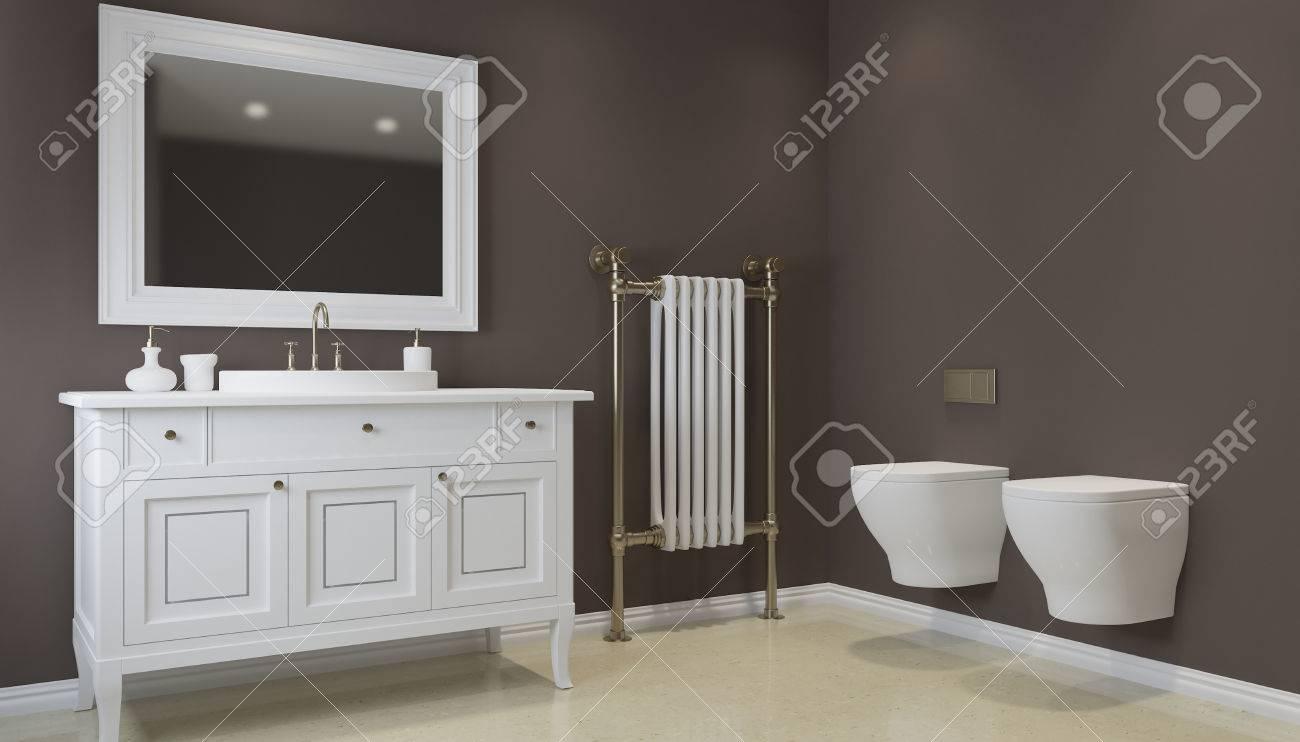 Bagno in tonalità di grigio con pavimenti riscaldati rendering d