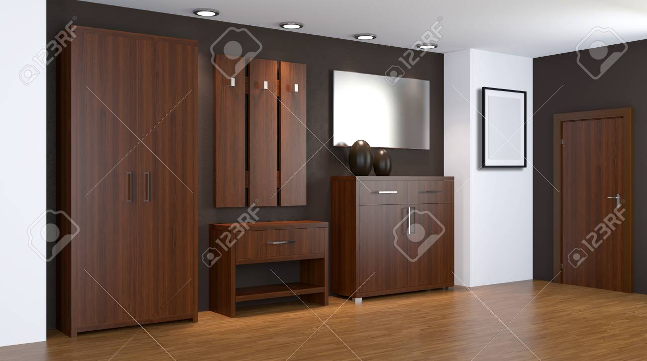 Modern Interior Of A Small Apartment Hallway 3d Rendering
