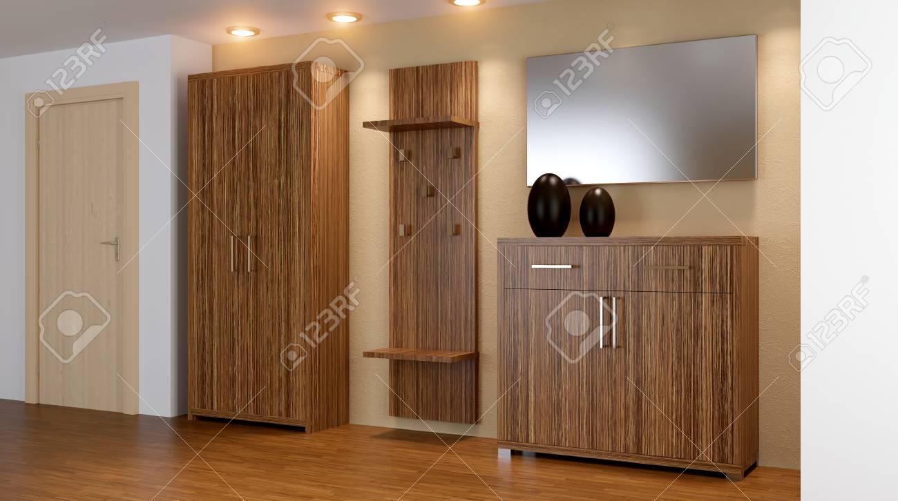 Intérieur Moderne D\'un Petit Appartement. Couloir. Rendu 3D Banque D ...