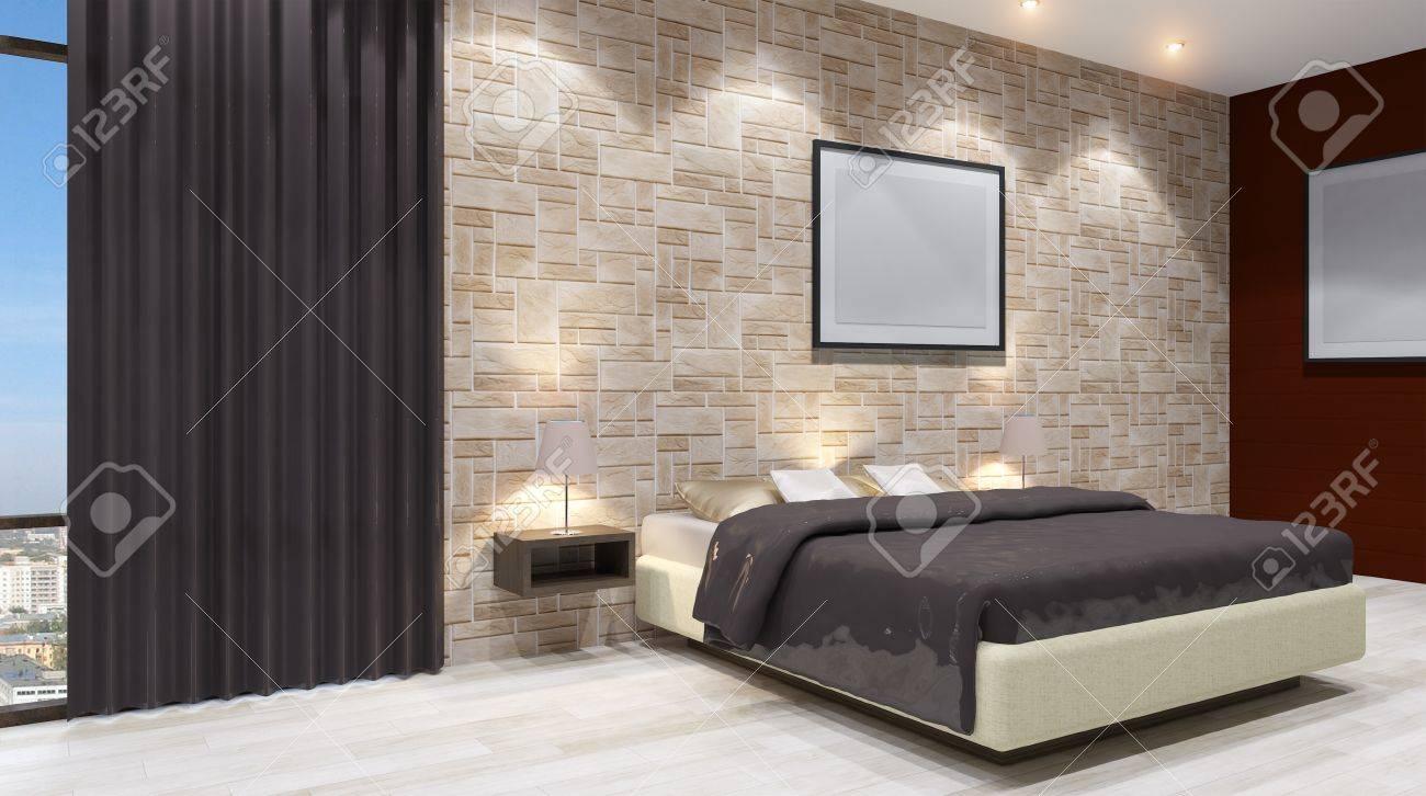 Il Design Moderno Delle Camere Da Letto. Rendering 3D Foto Royalty ...