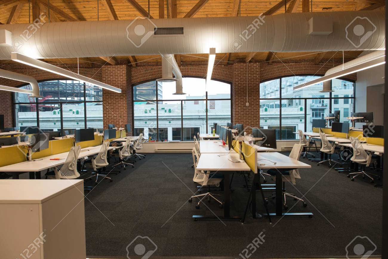 Stock Photo   Trendy Modern Open Concept Loft Office Space With Big  Windows, Natural Light And A Layout To Encourage Collaboration, Creativity  And ...