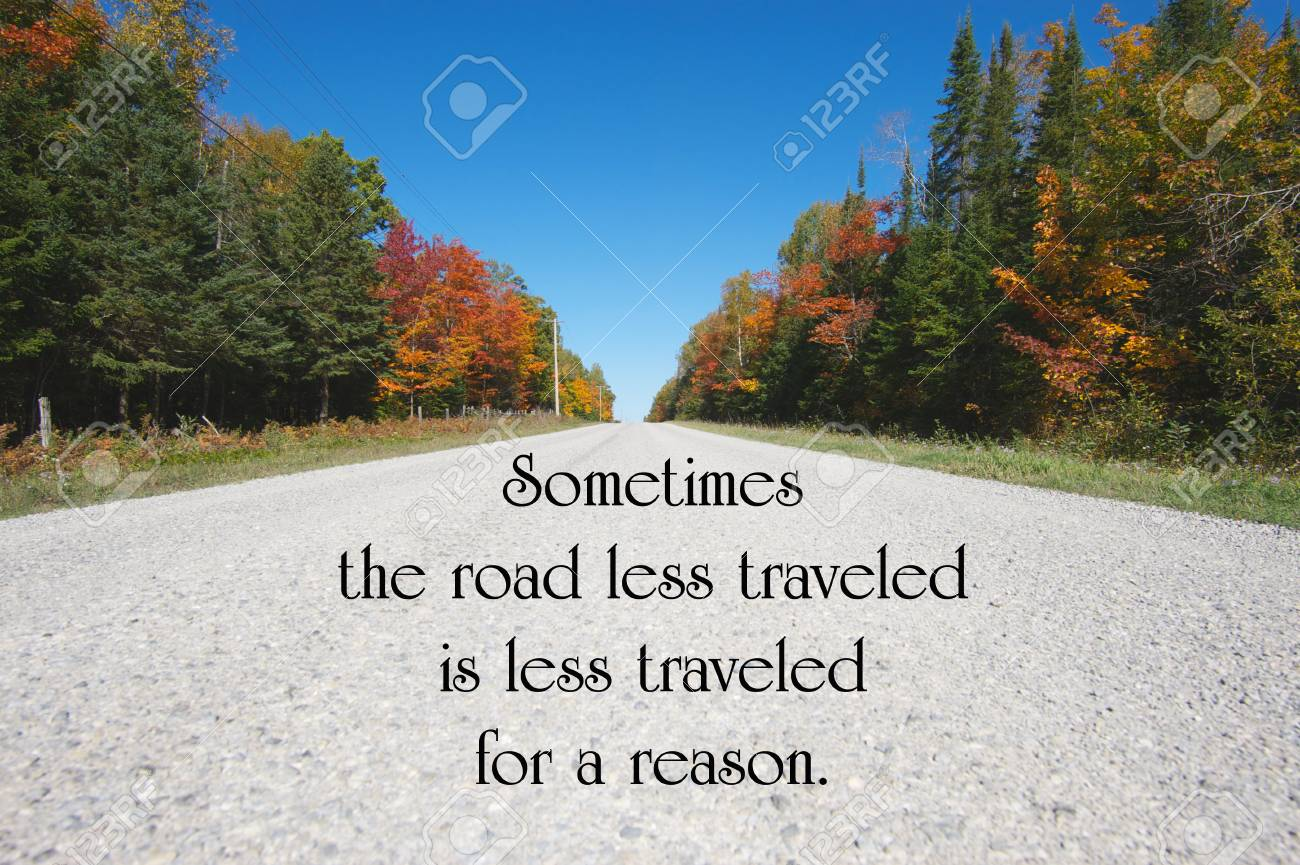 inspirational quote about life with a country road in the autumn