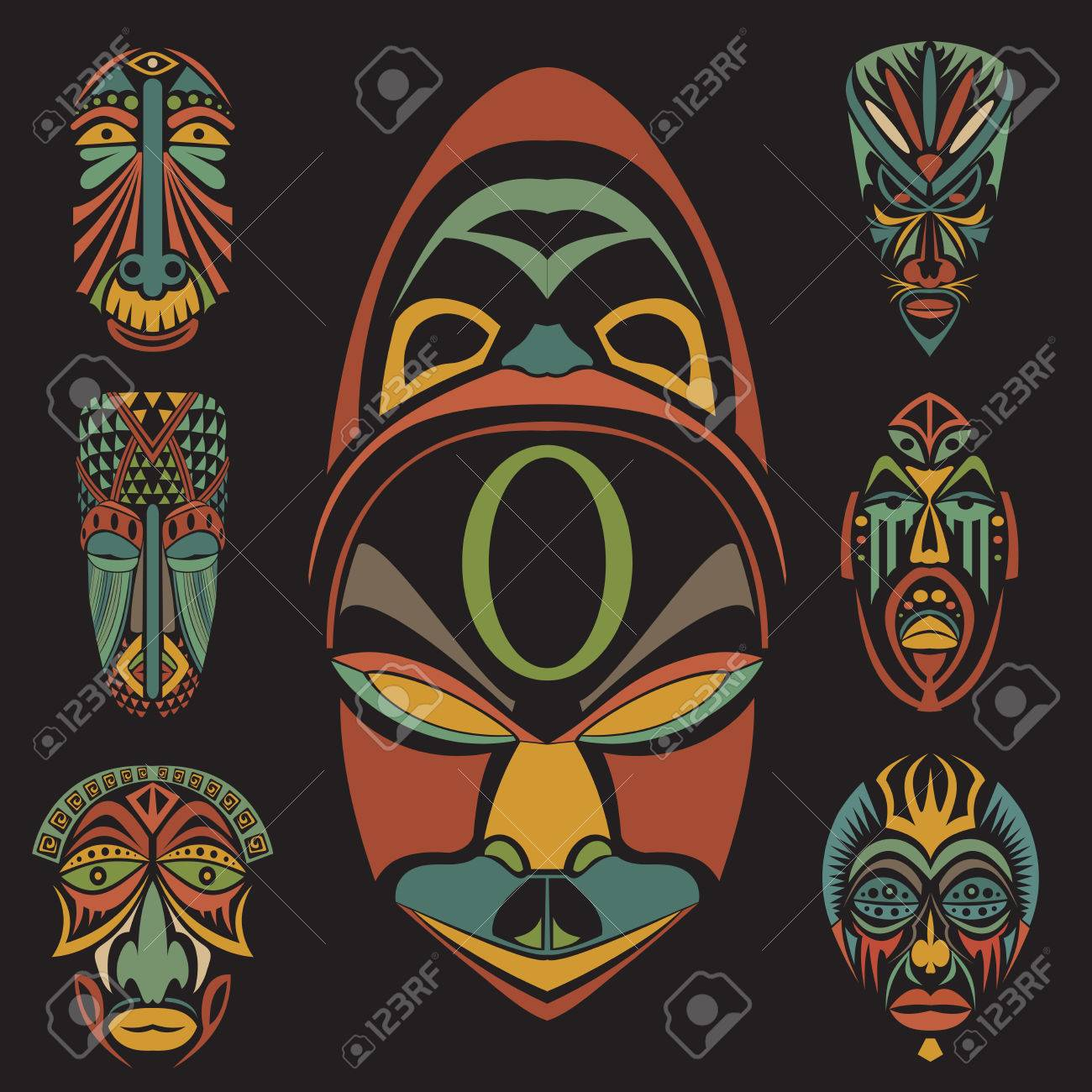 Set of african ethnic tribal masks on white background flat set of african ethnic tribal masks on white background flat icons ritual symbols biocorpaavc Image collections