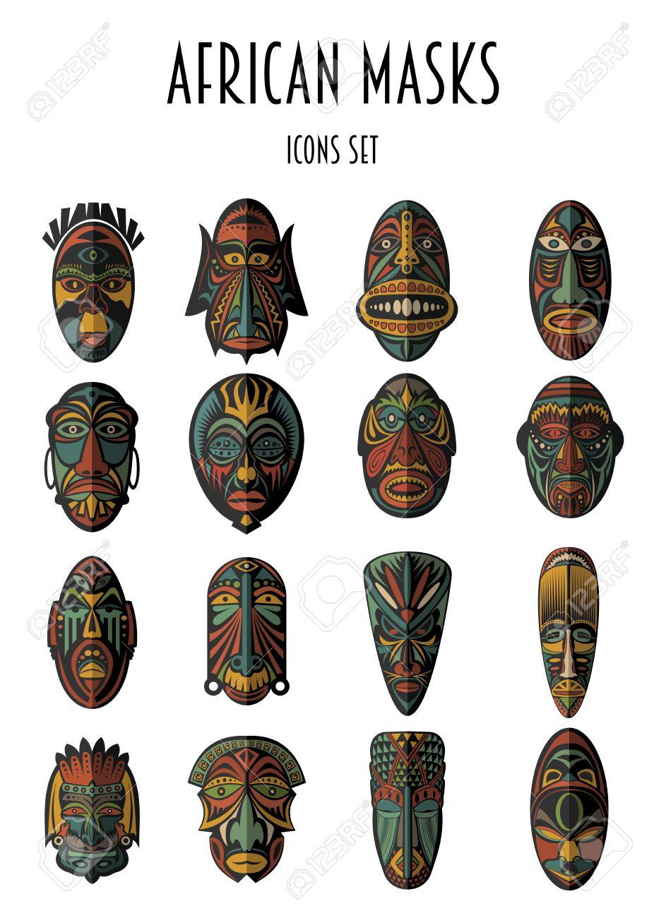 Set of African Ethnic Tribal masks on white background. Flat icons. Ritual symbols. - 51823575