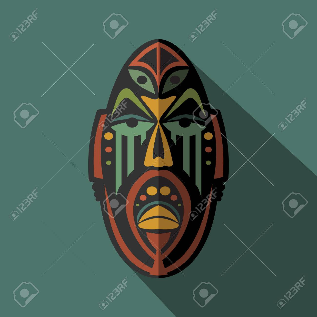 African ethnic tribal mask in color background flat icon ritual african ethnic tribal mask in color background flat icon ritual symbol stock vector biocorpaavc Image collections
