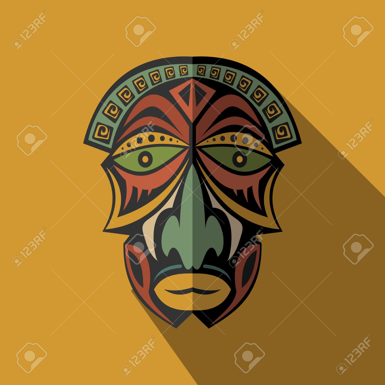 African Ethnic Tribal Mask In Color Background Flat Icon Ritual