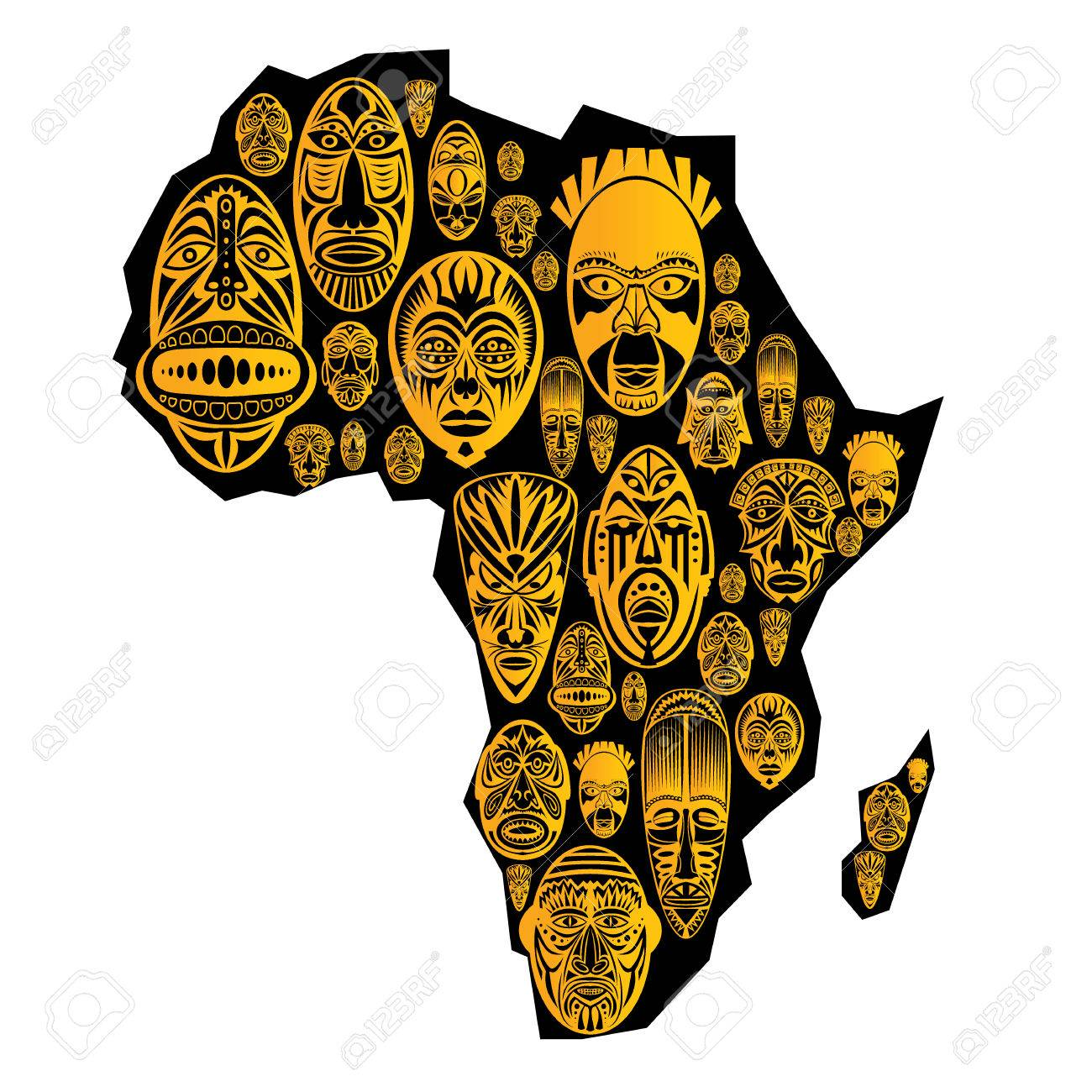 Map of africa with vector tribal ethnic masks in white background map of africa with vector tribal ethnic masks in white background stock vector 52258794 biocorpaavc Image collections