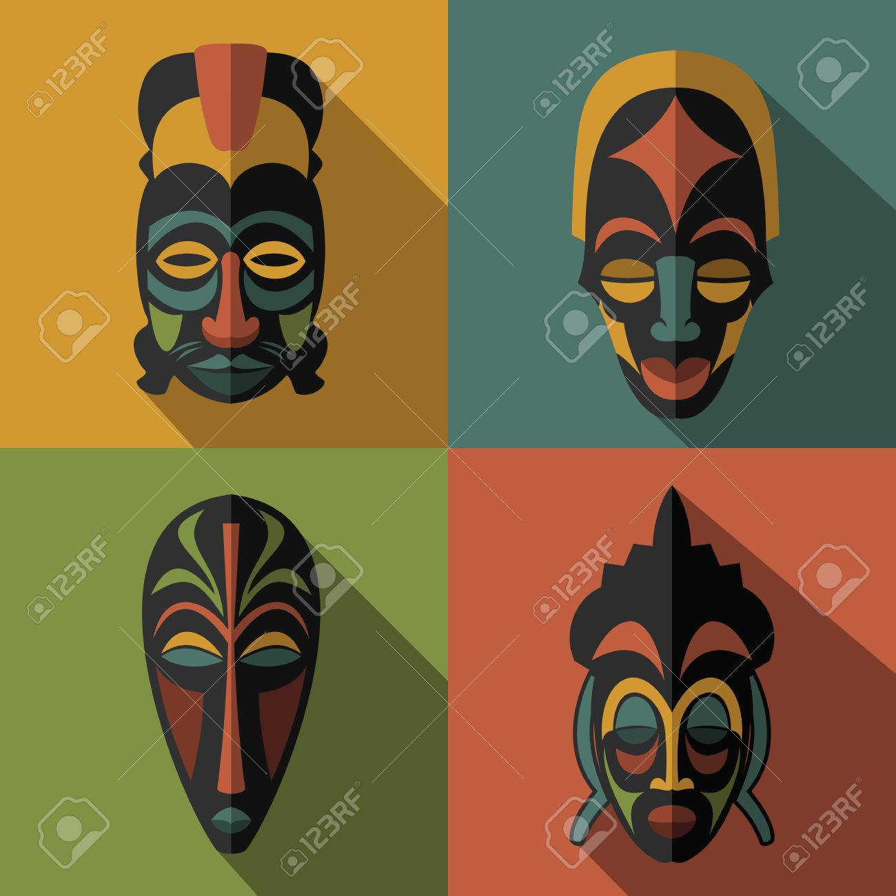 Set of african ethnic tribal masks on color background flat set of african ethnic tribal masks on color background flat icons ritual symbols biocorpaavc Image collections