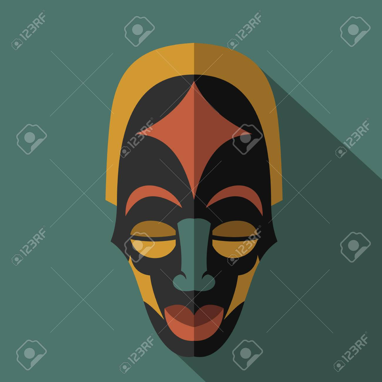 Set of african ethnic tribal masks on colour background flat set of african ethnic tribal masks on colour background flat icons ritual symbols biocorpaavc Image collections