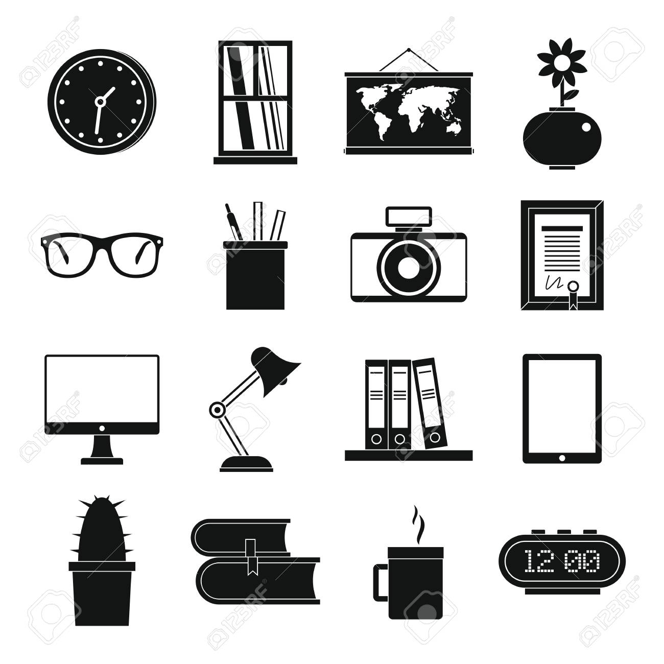 Set Flat Black Silhouette Office And House Items Elements For
