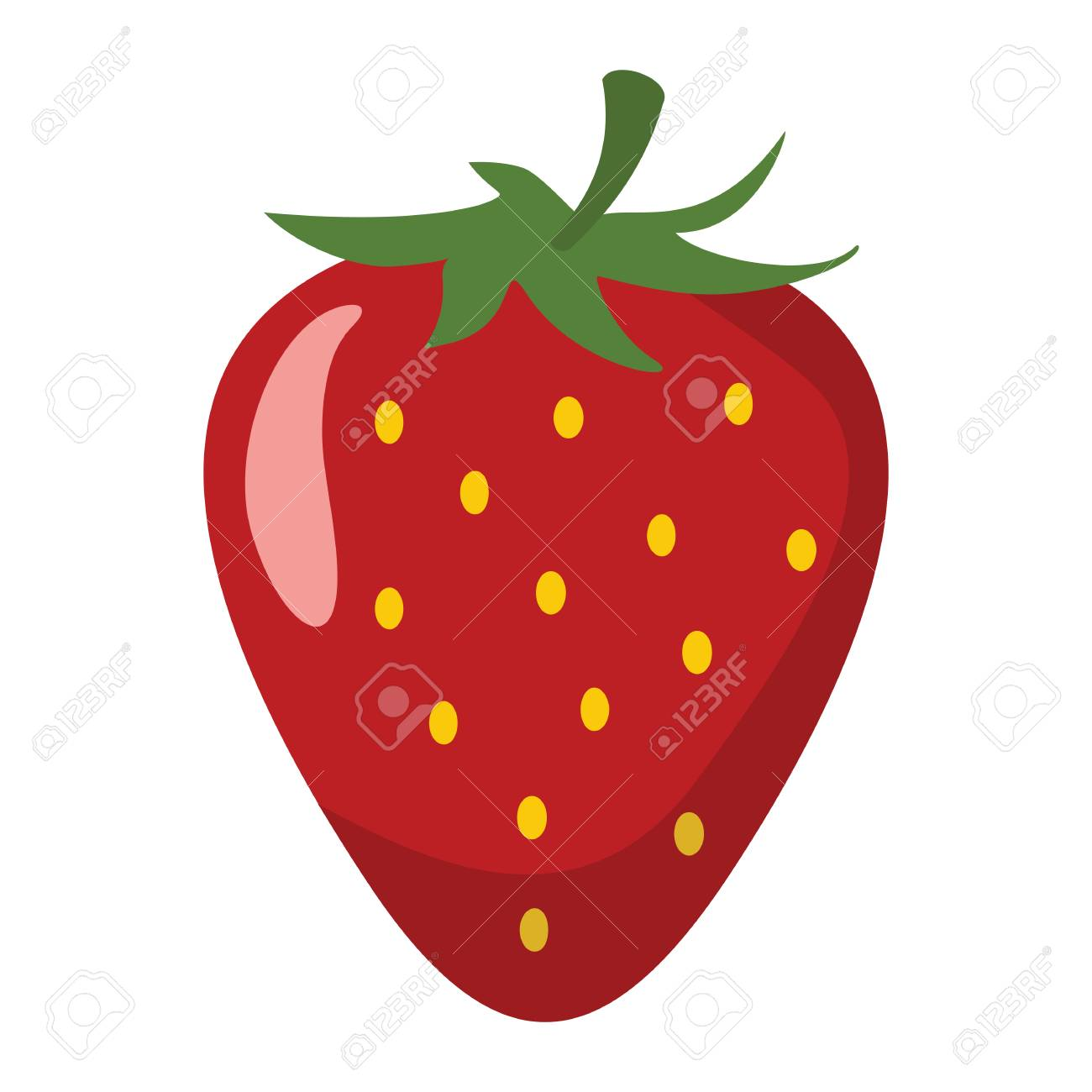 Strawberry Design Juicy Fresh Fruit Icon Template. Raw Strawberry ...