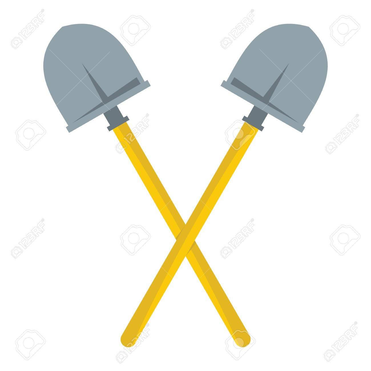 crossed shovels flat cartoon icon shovels vector illustration