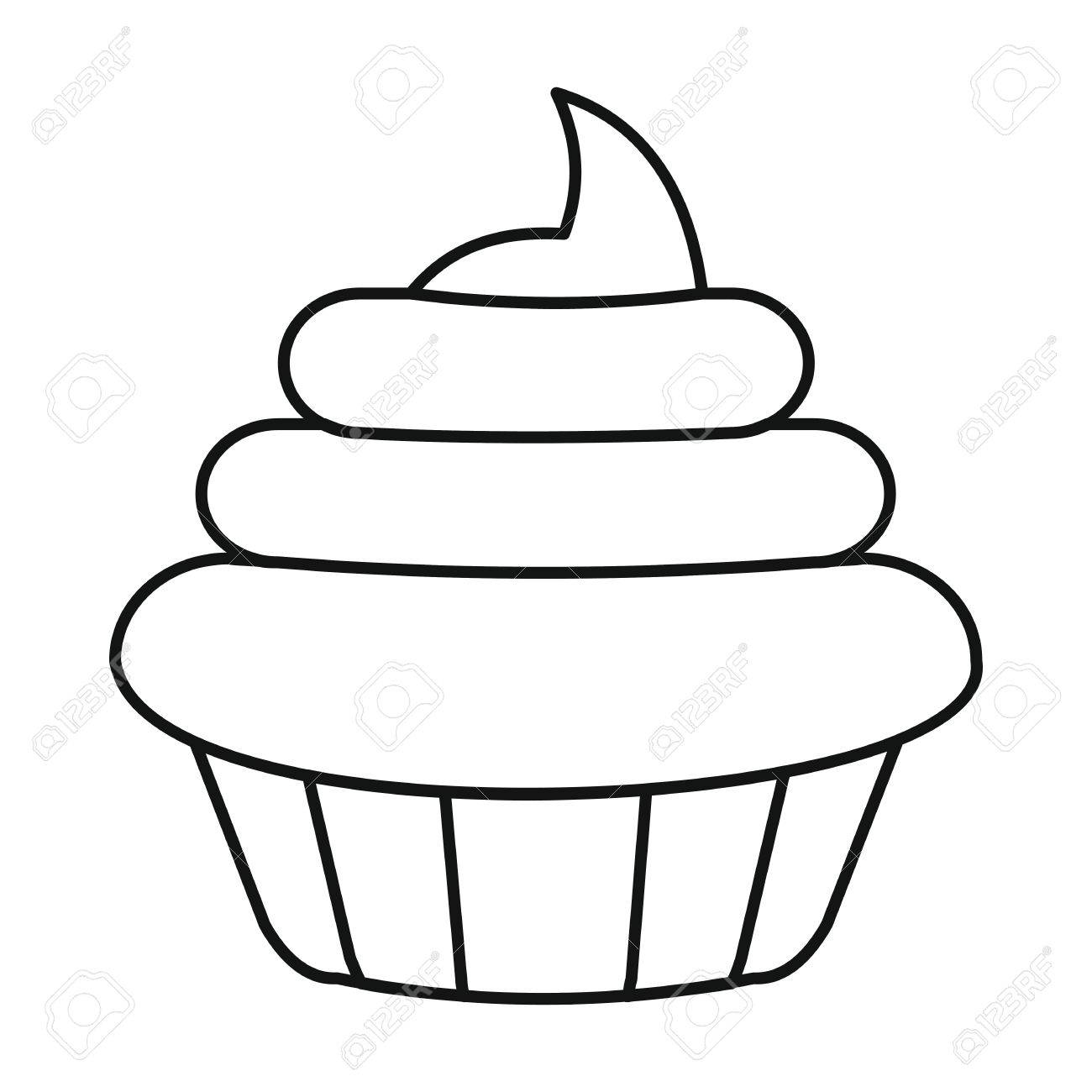 Cake Icon In Outline Style Vector Ilration For Design And Web Isolated On White Background